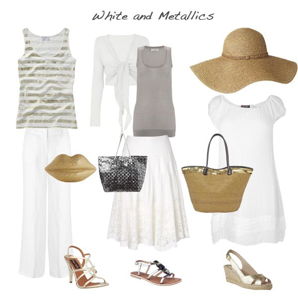 Mix white with metallics for cruise or beachy vacations.
