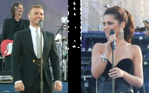 Gary Barlow and Cheryl Cole, two supporters of Pennies, get snapped at the Queen's Jubilee concert by the Pennies team earlier this week...