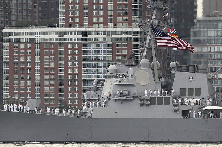 NYC 2012 Fleet Week, sailors on the USS Roosevelt stand at attention