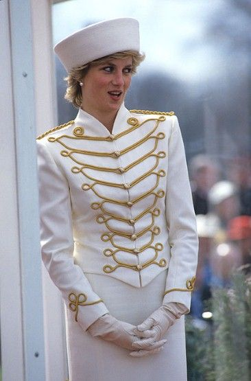 Diana, Princess of Wales chose a white military jacket with gold frogging for the Sandhurst Military Academy Passing Out Parade in April 1987