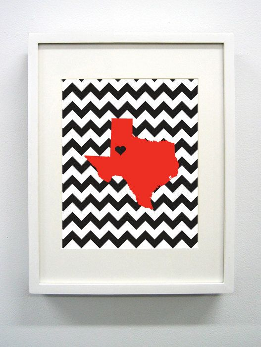 Lubbock, Texas State Giclée Print - 8x10 - Red and Black University Print on Etsy, $14.00