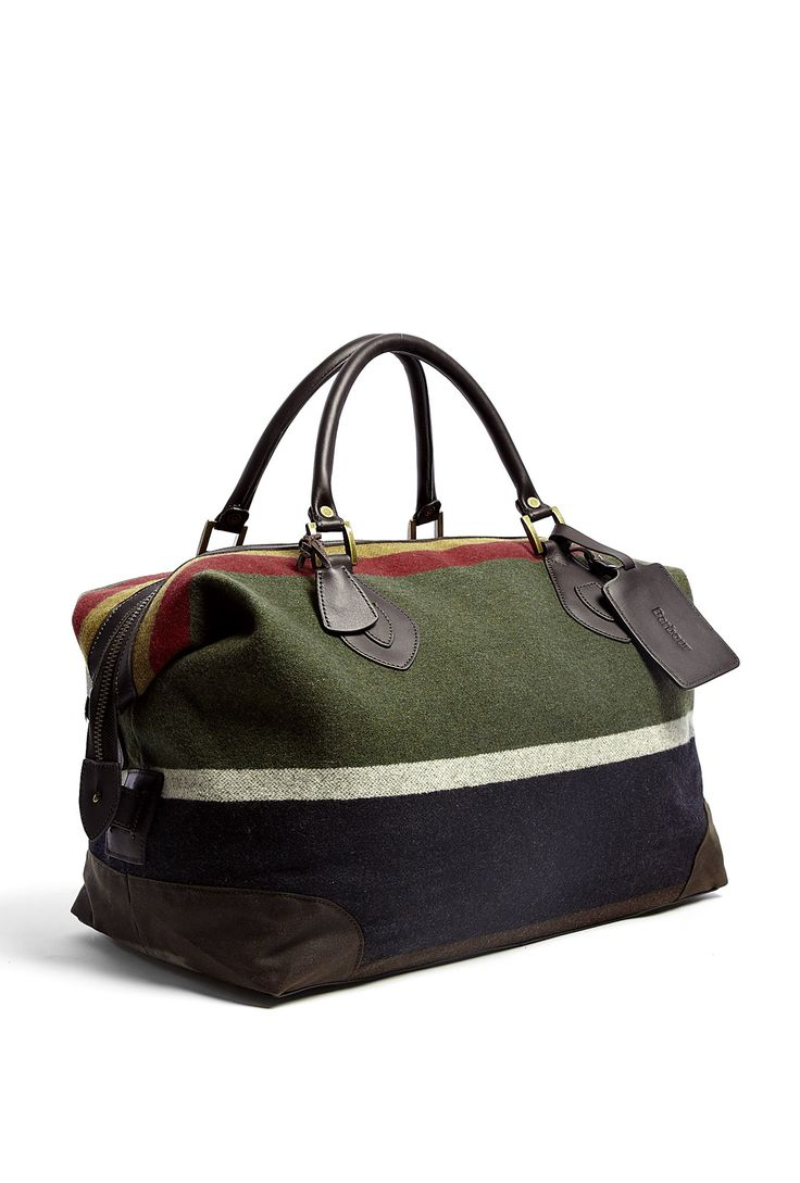 Striped Wool Medium Explorer Weekend Bag by Barbour. Unique and preppy pattern.