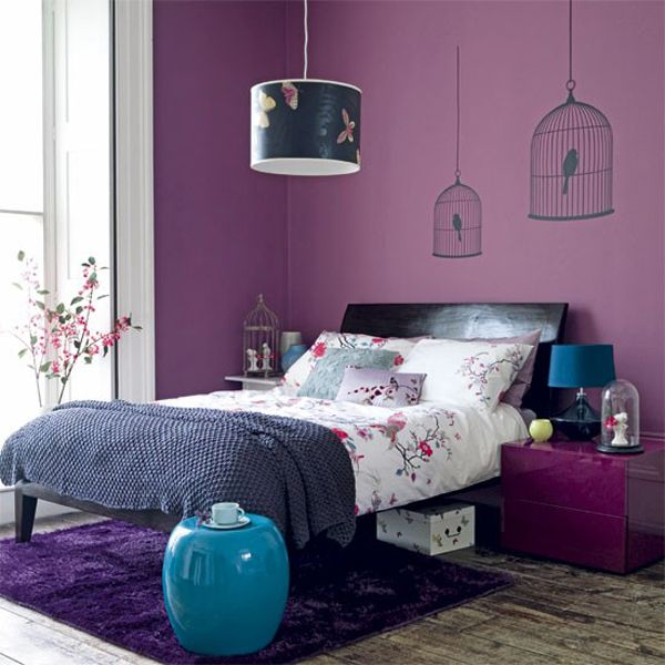 Bedroom Design, Beauteous Purple Girls Bedroom Ideas Wit Black Teak Wood Bed  Material With Purple Wall Paint Color With Bird Cages Silhouette Wall  Sticker ... Photo Gallery