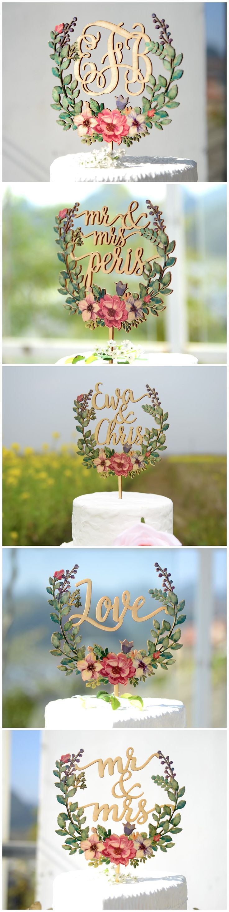 bridenew created personalized wedding cake toppers printed with colorful floral vectors. (Cake Topper Wedding)