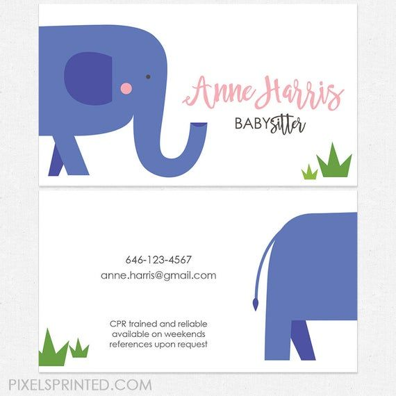 Babysitter Nanny Business Cards Thick Color Both Sides Etsy Business Card Graphic Unique Business Cards Cool Business Cards