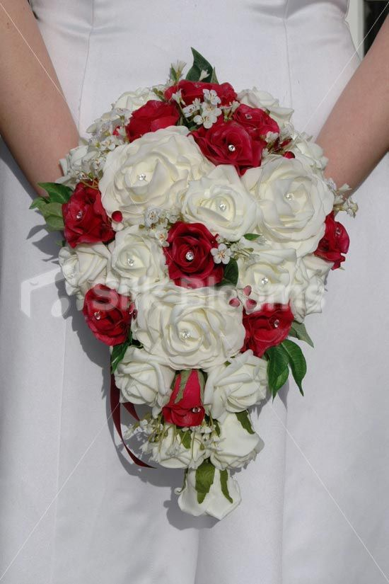 Ivory Burgundy Real Touch Rose Teardrop Bridal Wedding Bouquet