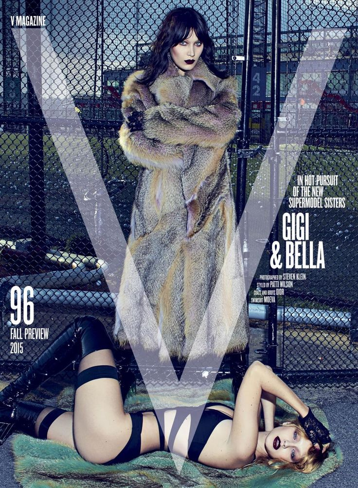 V Magazine Fall 2015.. Bella and Gigi Hadid.. both in Dior coats and boots, Moeva swimsuits, and Falke stockings..