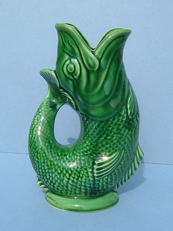 1950s dartmouth pottery green gurgling jug fish jug made in england vase pottery and england - Fish pitcher gurgle ...