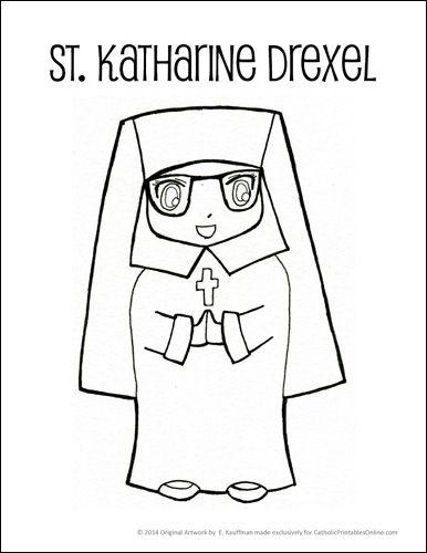 St. Katharine Drexel Coloring Page free printable