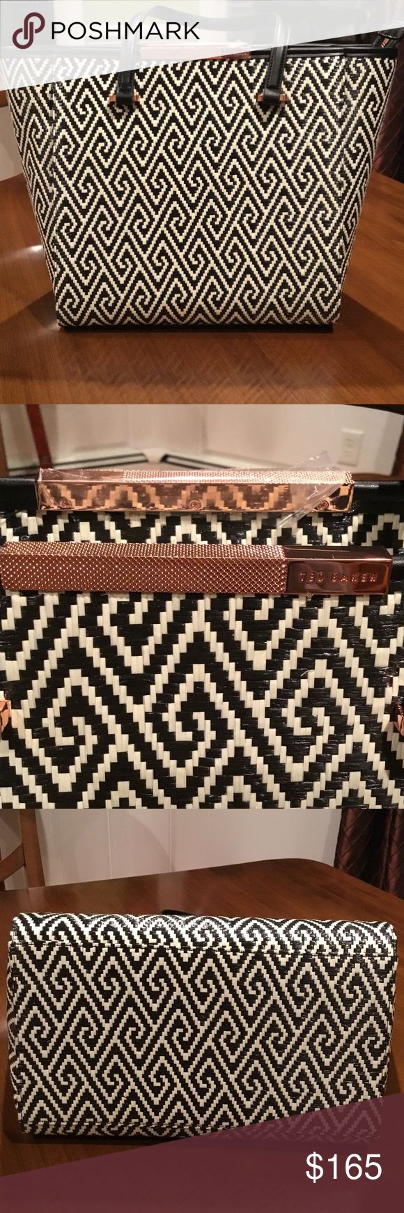 Ted Baker London woven large shopper GORGEOUS Ted Baker handbag with rose gold accents and beautiful green lining. Hardware is still covered with plastic to prevent scratching. Ted Baker London Bags Totes