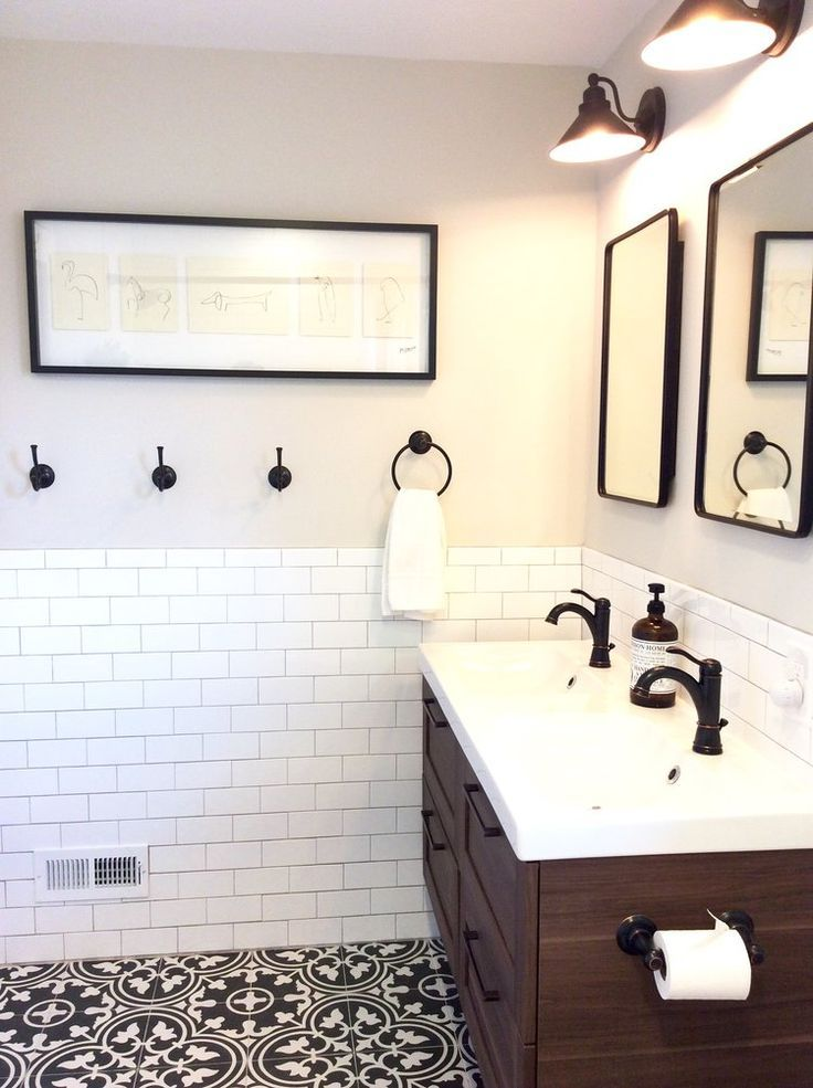 Fresh Farmhouse Bath Black White And Wood Bathroom Ikea