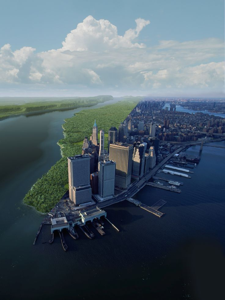 Manhattan before its development and now. Stunning visual by National Geographic- talk about a dramatic change!
