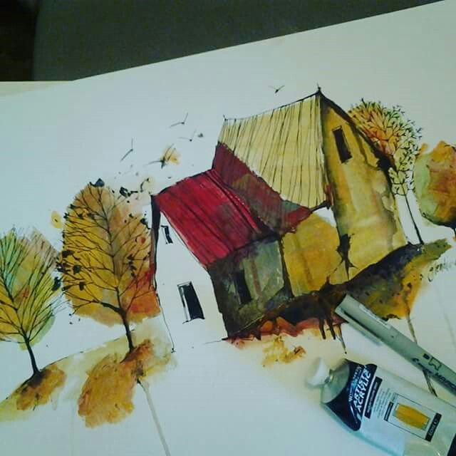 Acrylic wash and pen on paper by artist Glendine