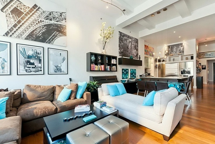 The example of modern contemporary home design.: Living Rooms, Apartment Interiors, Living Spaces, Bright Color, Loft Apartment, Apartment Design, Apartment Living, New York Loft, Loft Design