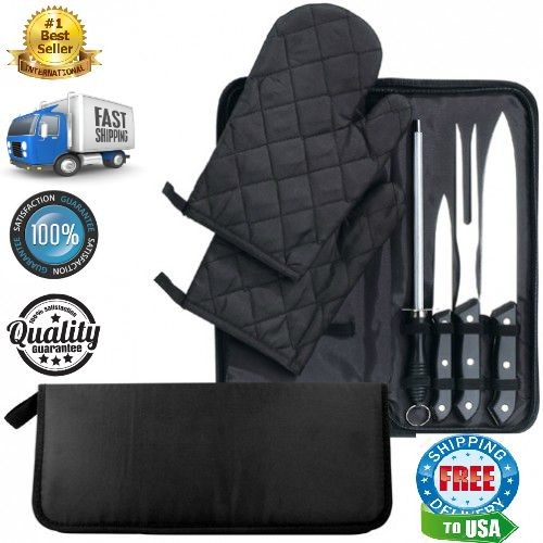 .The Best 7 Piece Chef Set Perfect Carving Tolls New  This 7 Piece Chef Set has everything to perform the perfect carving. Included in the zippered storage case are 2 mitts, a sharpener, a paring knife, a carving knife and a fork. The full tang...