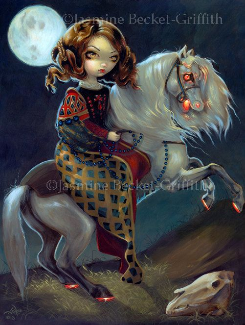 I Vampiri: Notte a Cavalla nightmare vampire fairy art print by Jasmine Becket-Griffith 8x10