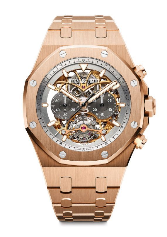 Audemars Piguet Royal Oak Tourbillon Chronograph Openworked in 18k rose gold - the watch's manufacture movement, manual-winding Caliber 2936, consists of 299 parts, including 28 jewels, and has a frequency of 21,600 vph and a power reserve of 72 hours.