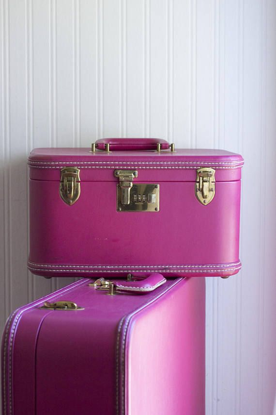 Vintage Luggage Hot Pink Suitcase Fuschia Train Case Combo