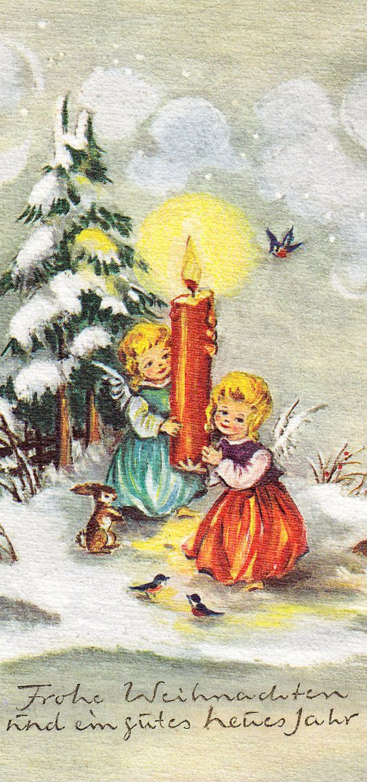 Vintage Angels & Candle Christmas Card ~ Tomato-Orange Accents