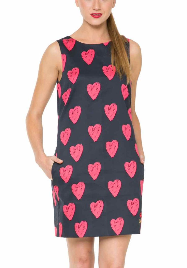 61V28J1_2000 Desigual Dress Cristina, Black with Hearts