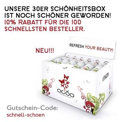 UNSERE 30er SCHÖNHEITSBOX IST NOCH SCHÖNER GEWORDEN! (http://shop.ocoo.de/OCOO-30er-SchoenheitsBox.html)  Jetzt fertig um den Schönheits-Nachschub für einen Monat zu stillen. Probiert die 30 Tage MonatsKur von OCOOnectar und sagt uns, wie sich Eure Schönheit verändert hat.   Die schnellsten 100 Besteller erhalten 10% Rabatt! Einfach Gutschein-Code bei Bestellung eingeben: schnell-schoen   Share it!