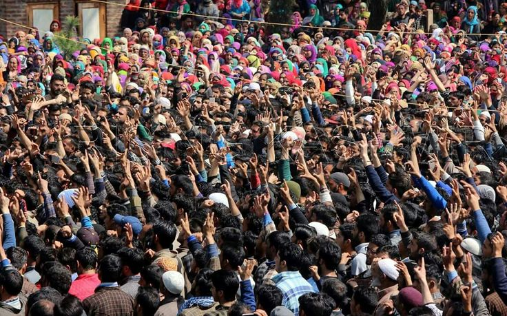 People shouting Anti-india and pro-independence slogans in kashmir illegal occupied by India.