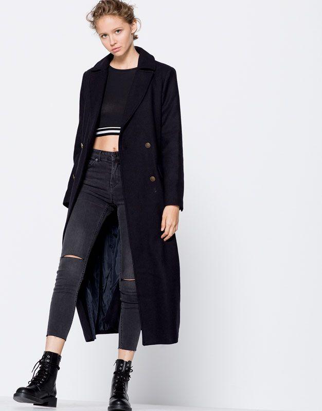 Pull&Bear - donna - novità - abbigliamento - cappotto lungo militare - blu marino oscuro - 09750311-I2016