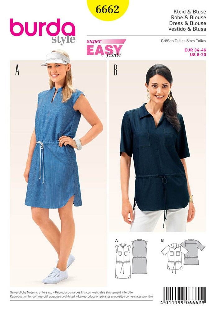 Misses Dress and Blouse Burda Sewing Pattern 6662. Size 8-20.