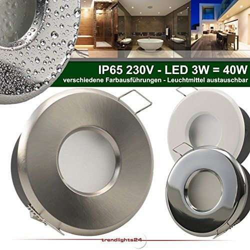 5er Set (1-5er Sets) Decken Einbaustrahler Bad MERANO IP65 rund 230V WEISS; COB LED 3W = 40W; Kalt-Weiß; Einbauleuchte für Feuchtraum + Außen - http://led-beleuchtung-lampen.de/5er-set-1-5er-sets-decken-einbaustrahler-bad-merano-ip65-rund-230v-weiss-cob-led-3w-40w-kalt-weiss-einbauleuchte-fuer-feuchtraum-aussen/ #BadEinbauleuchten #Trendlights24