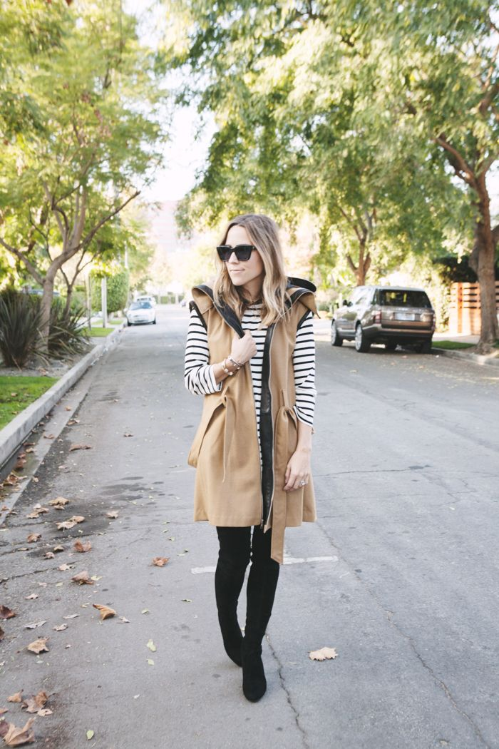 Stripes will never go out of style. Layer with a long line vest for cozy chic.: