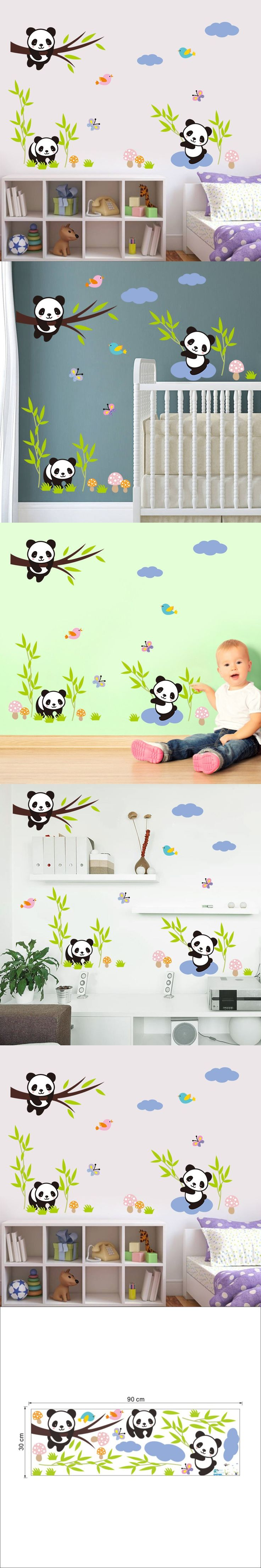 Hot!Cute panda bamboo grass Wall Stickers For kids rooms living room bedroom Home Decor DIY Decoration PVC Removable Waterproof $2.69