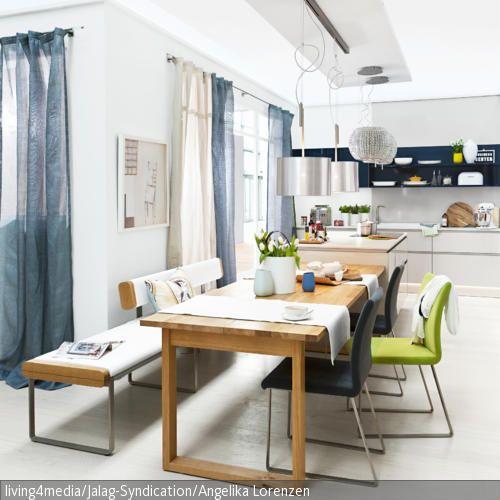 Sitzbank mit Lederpolstern - kche mit esstisch