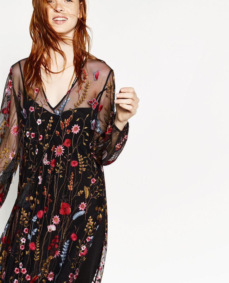 ZARA - long embroidered dress