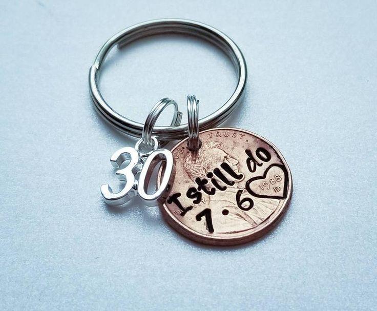 Personalized I Still Do Penny Keychain 30 year Anniversary