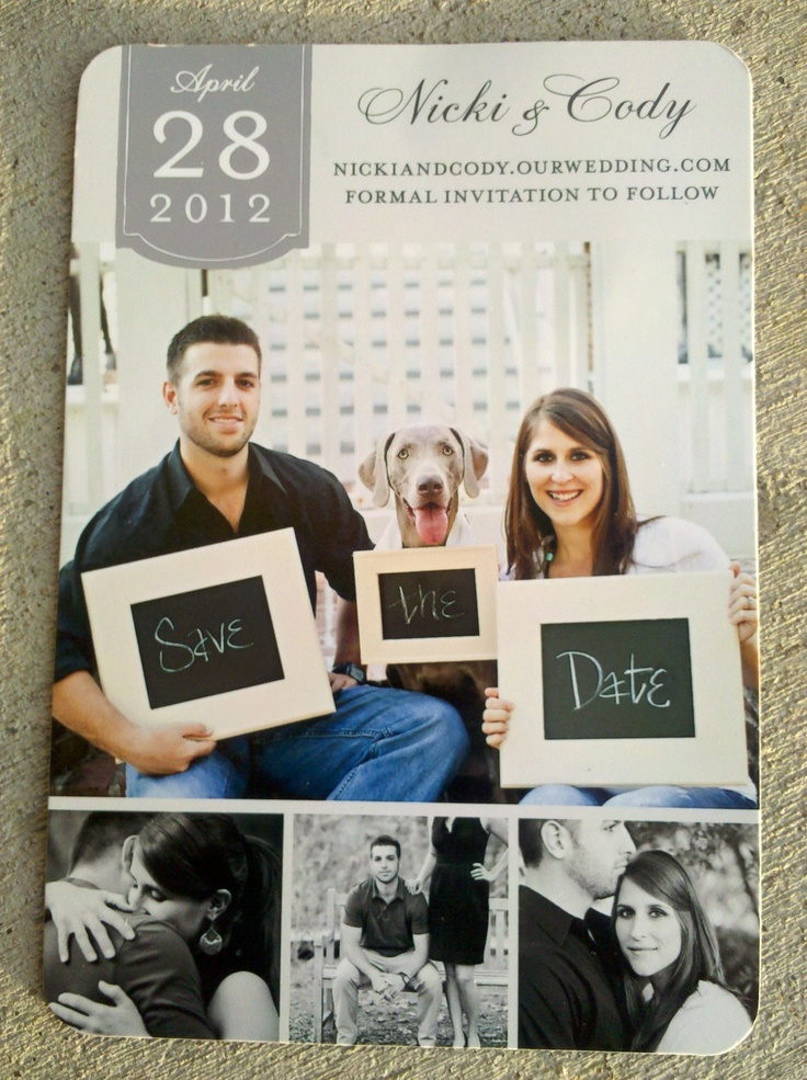 Save the Date with child instead of dog....purple and grey to accent