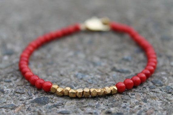 Red coral and gold vermeil bracelet on etsy