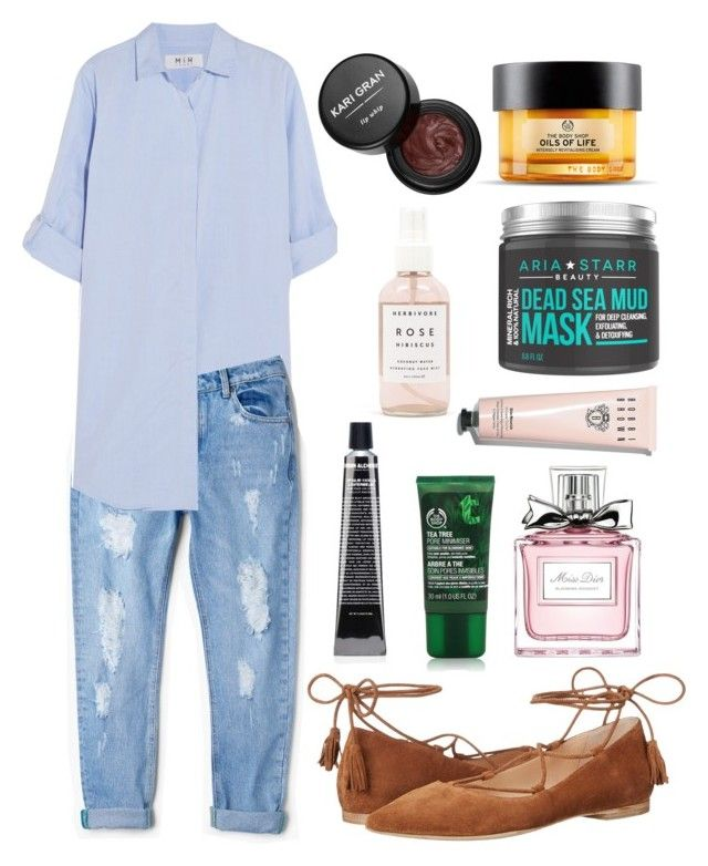 """""""Pointed lace-up flats OMG"""" by teodorapetre on Polyvore featuring Kennel + Schmenger, MiH Jeans, MANGO, The Body Shop, Herbivore Botanicals, Bobbi Brown Cosmetics, Grown Alchemist, Kari Gran and Christian Dior"""