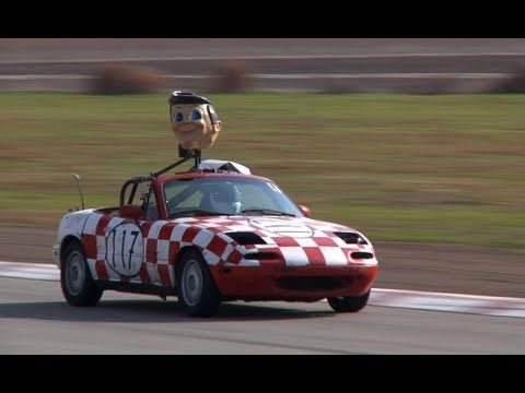 VIDEO:  24 Hours of Lemons race at Buttonwillow Raceway (CA) - posted by TheSmokingTire on YouTube (10 min. 35 sec.);  The LeMons race is a 24 hour endurance race for cars that cost $500 or less (not counting tires and safety gear) – with humorous penalties (see 5:20).  See the Limo and the 'Rocket' at 1:22, the 'Big Boy' at 1:40, the #525 Mohawk at 2:02, the Mormon Missile (with bikes on top!) at 5:12, the Sombrero at 8:50, the bobblehead drivers #77 at 8:54, and the Lemon at 9:20.