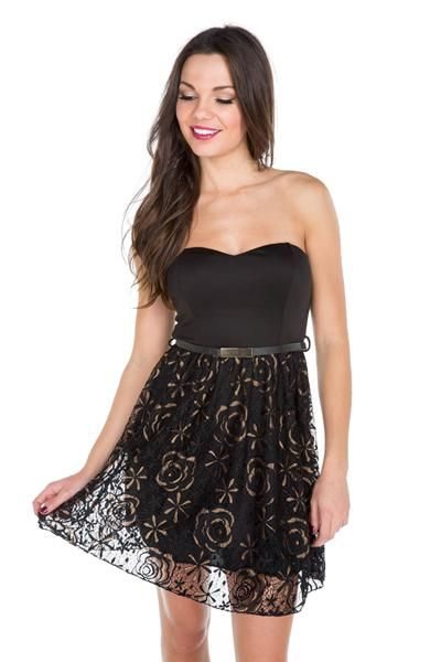 Strapless Lace Belted Dress