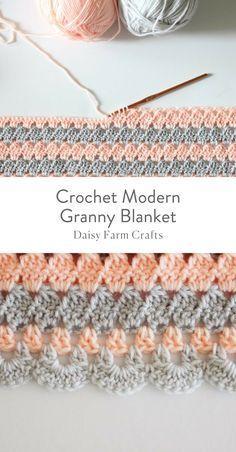 Padrão Livre - Crochet Modern Granny Blanket #crochetpattern