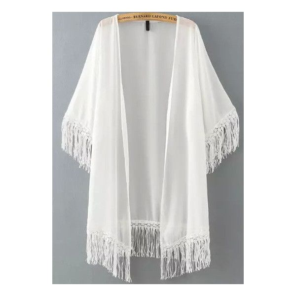 SheIn(sheinside) White Half Sleeve Tassel Chiffon Kimono ($16) ❤ liked on Polyvore featuring cardigans, kimonos, outerwear, tops, jackets and white