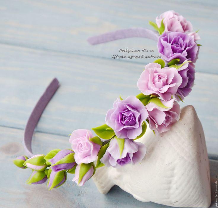 Купить Лилу. Обруч для волос - сиреневый, подарок, ободок с цветами, ободок для фотосессии, сирень, фиолетовый