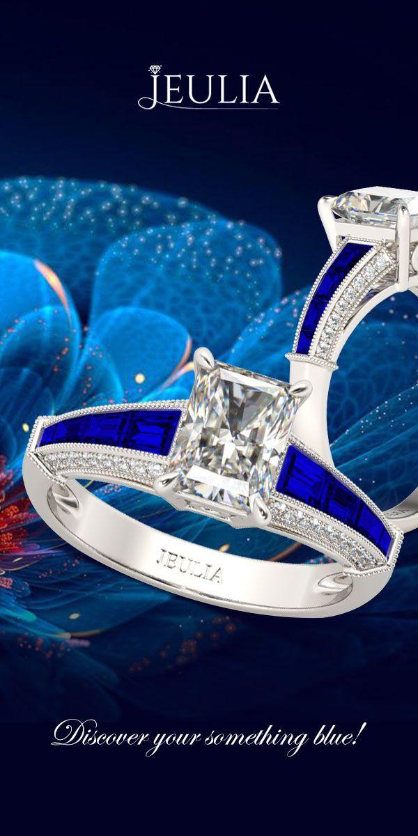 Jeulia Milgrain Radiant Cut Created White Sapphire Engagement Ring #Jeulia