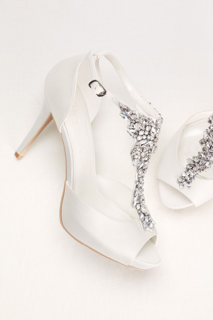 Crystal t-strap peep toe high heel | Sparkling wedding shoes