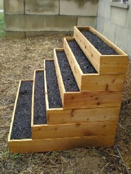 vertical garden - perfect for herbs - this makes more sens than the tower I was planning - add a grow light and place in your garage during the winter - build with bottom and put wheels on it for moveability - Click image to find more Gardening Pinterest pins
