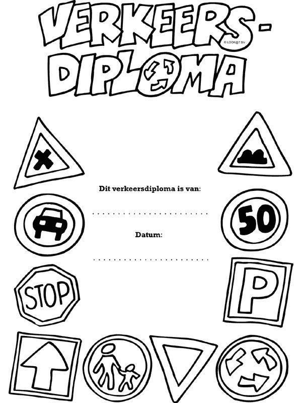 Kleurplaat Verkeersdiploma - Kleurplaten.nl