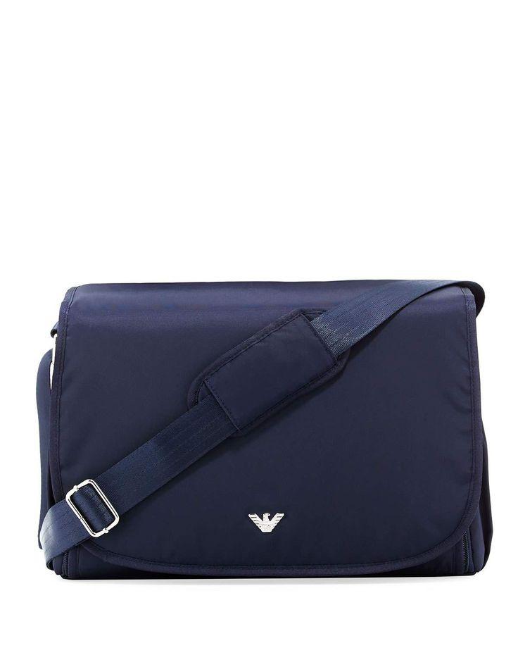 Designer diaper bags | Best stylish messenger diaper bags | Armani Junior Nylon Crossbody Diaper Bag, Navy