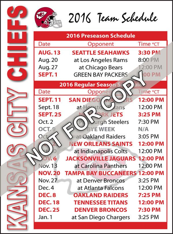 2016 Kansas City Chiefs Football Schedule Magnet - NFL (High Quality Magnet)…