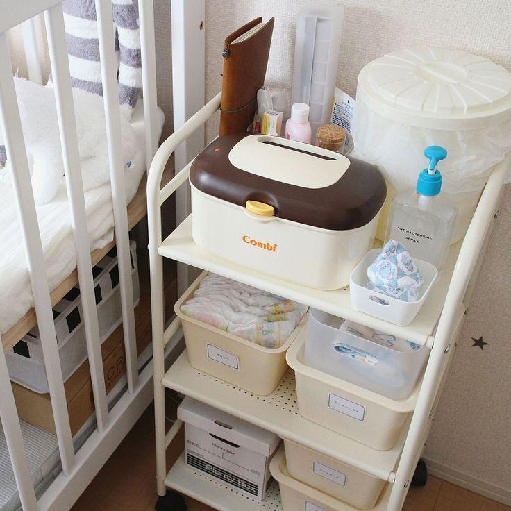 ダイソー×キッチンワゴンのインテリア実例 | RoomClip (ルームクリップ) Bedroom/無印良品/ダイソー/収納/salut!/モノトーン/キッチンワゴン