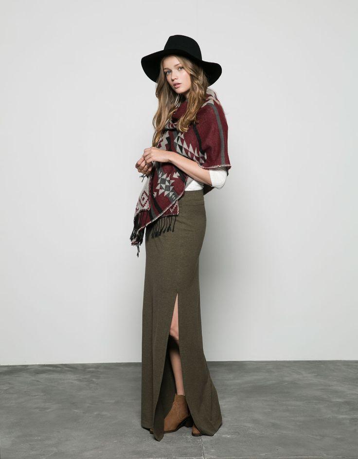 Bershka Algérie - Bershka side cut detail long skirt